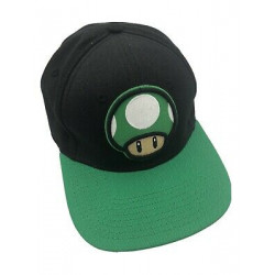 Super Mario 1-Up Mushroom Hat, Black and Green Youth Size